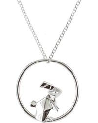 Origami Jewellery Sterling Silver & Gold Rabbit Circle Origami Necklace JECwj9