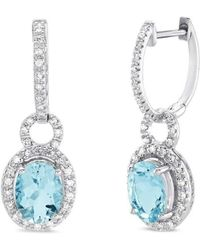Marmalade Fine Jewellery - 14kt White Gold Oval Cut Aqua Marine Dangly Earrings - Lyst
