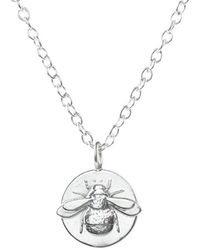 Lucy Flint Jewellery Bee Coin Necklace Sterling Silver - Metallic