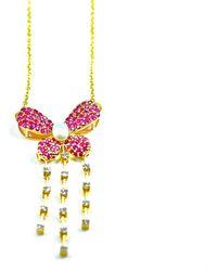 ERAYA 14kt & 18kt Yellow Gold Diamond, Ruby, & Pearl Butterfly Statement Necklace - Metallic