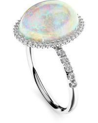 MARCELLO RICCIO 18kt White Gold, Diamond & Crystal Opal Ring - Metallic
