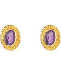 LÁTELITA London Gold Gemstone Birthstone Stud Earring February Amethyst - Metallic