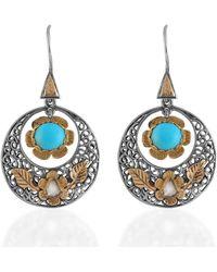 Emma Chapman Jewels Sterling Silver Polki Diamond Turquoise Disc Earrings - Multicolour