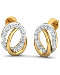 Diamoire Jewels 18kt Yellow Gold 0.38ct Pave Diamond Infinity Earrings f2Z3gqu
