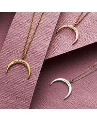 Posh Totty Designs Personalised Crescent Horn Necklace Rose Gold Plated - Multicolour