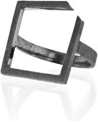 Ilda Design - Oxidised Ring With Square Top - Lyst