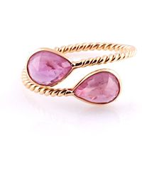 Trésor 18kt Yellow Gold Pink Tourmaline Pear-shaped Faceted Ring