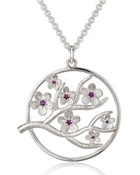 Fiona Kerr Jewellery Large Silver Cherry Blossom Pendant With Garnets - Metallic