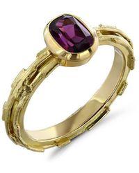 Karen Phillips 18kt Yellow Gold Garnet Mina Ring - Metallic