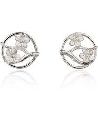 Fiona Kerr Jewellery Silver Cherry Blossom Stud Earrings - Metallic