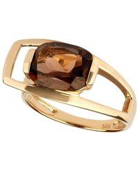 Carolin Stone Jewelry 14kt Yellow Gold Plated Sterling Silver Smoky Quartz Charming Ring - Metallic