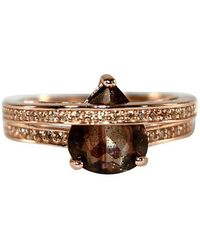 Shimmer by Cindy Rose Gold Plated Wrap Ring With Black Glass Stone - Multicolour