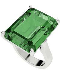StyleRocks - Hydrothermal Emerald Cut Silver Cocktail Ring - Lyst