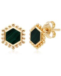 Gemondo Jewellery Gemondo Yellow Gold Plated Silver Flat Slice Malachite Stud Earrings - Green