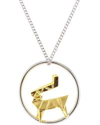 Origami Jewellery Sterling Silver & Gold Deer Circle Origami Necklace - Metallic