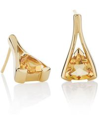MANJA Jewellery Valentine Gold Citrine Earrings - Metallic