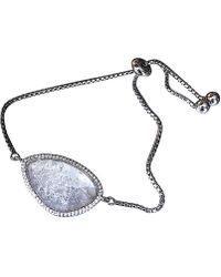 Shimmer by Cindy - Rhodium Plated Abstract Halo Bracelet With White Cz Stone - Lyst