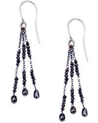 London Road Jewellery White Gold Black Diamond Tassel Drop Earrings 7suKJpTX