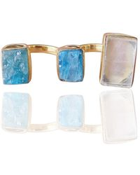 Bhagat Jewels 18kt Gold Plated Apatite & Crystal Quartz Double Finger Ring - Yellow