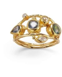 Bergsoe Gold & Diamond Double Seafire Ring   - Metallic