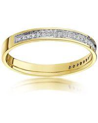 Star Wedding Rings 9kt Yellow Gold Round Diamond Eternity Wedding Ring - Black