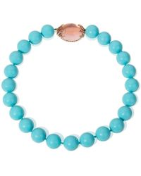 Mara Hotung - Crushed Shell Bead Turquoise Colour Necklace With Rose Quartz & Pink Sapphire Clasp - Lyst