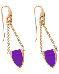 Stefano Salvetti - Rose Gold Plated Bronze And Violet Enamel Earrings - Lyst