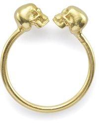 Black Betty Design The Diamond Eyed Kissing Skull Ring In Yellow Gold - Uk J - Us 4.75 - Eu 48.7 - Metallic
