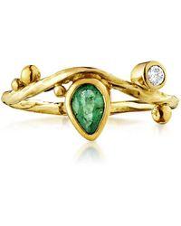 Bergsoe Yellow Gold Seafire Ring With Emerald & Diamond  