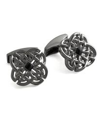 Tateossian Sterling Silver & Onyx Black Celtic Stone Cufflinks