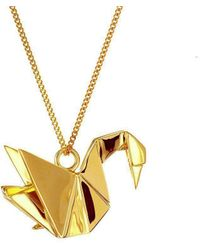 Origami Jewellery - Mini Swan Necklace Gold - Lyst
