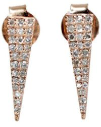 Nadean Designs - White Pave Diamond 14kt Rose Gold Geometric Triangle Stud Earrings - Lyst
