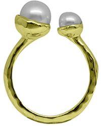 Murkani Jewellery Gold & Double White Pearl Riveria Ring - Metallic