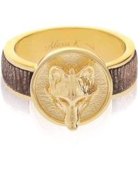 Alexa K - 18kt Gold Plated Brass Small Wolf Ring With Leather - Lyst
