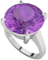StyleRocks Round Brilliant Cut Amethyst Sterling Silver Ring - Uk I - Us 4.5 - Eu 48 - Multicolor