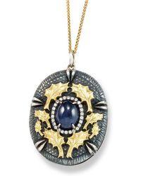 Katherine LeGrand Custom Goldsmith - Sterling Silver & Sapphire Oak Cast Cabochon Pendant | Katherine Legrand - Lyst