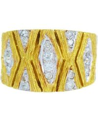 Alexis Danielle Jewelry - Cigar Band Yellow Gold And Diamond Ring - Lyst
