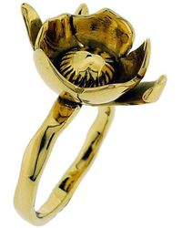Rachel Helen Designs - 18kt Yellow Gold Peony Bud Ring - Paeonia Officinalis - Lyst