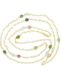 Noyre Berlin Multi Tourmaline & Pearl Long Necklace - Metallic