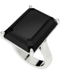 StyleRocks Onyx Emerald Cut Sterling Silver Cocktail Ring - Uk I - Us 4.5 - Eu 48 - Multicolour