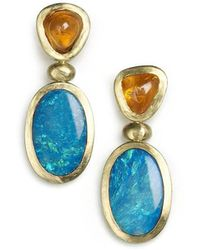 Julia Lloyd George - 18kt Yellow Gold Spessartite & Opal Drop Earrings - Lyst