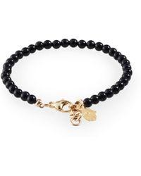 Loushelou - Black Onyx Bracelet With Gold Hamsa - Lyst