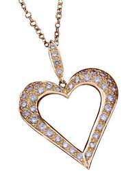 Daou Jewellery - Open Heart Diamond Gold Pendant - Lyst