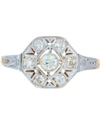 Alexis Danielle Jewelry | Art Deco Platinum 18kt Yellow Gold Diamond Ring | Lyst