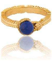 Vurchoo Caleb Floral Yellow Gold Vermeil And Lapis Ring