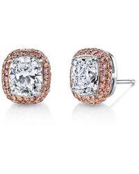 Harry Kotlar - Kotlar Cushion With Fancy Intense Pink Pave Stud Earrings - Lyst