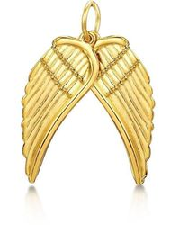 Becky Rowe Yellow Gold Angel Wings Large Pendant | - Metallic
