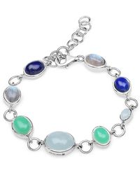 Olivia Leone Rhodium Plated Silver Multi-colour Party Bracelet Silver - Blue