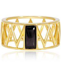 Alexandra Alberta - Yellow Gold Plated Mini Guggenheim Ring With Black Onyx - Lyst