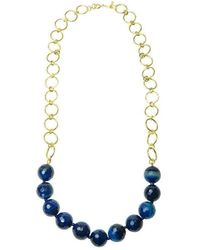 Purnell Gold And Blue Agate Disco Icon Necklace